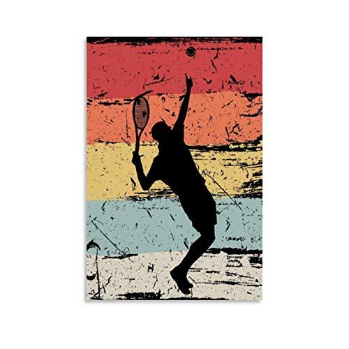 QWSDF - Poster vintage da tennis, stile retrò, con stampa artistica da parete, 60 x 90 cm