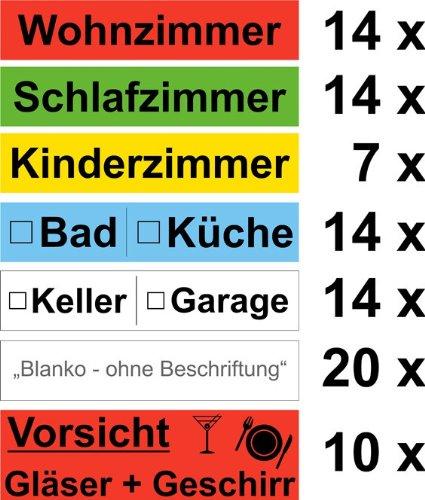 93x Umzugetiketten - für den Karton - farbig Beschriftung mit Etiketten vom Umzugskarton für den Überblick beim Umzug thumbnail