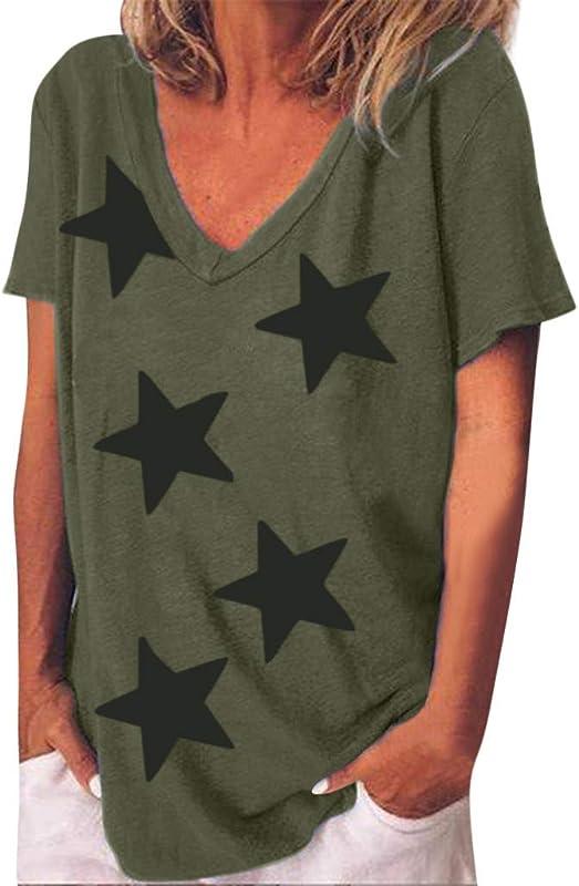 Zackate Women S Summer Fashion Short Sleeve V Neck Shirt Top Casual Stars Printed Irregular T Shirts