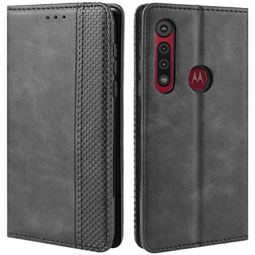 HualuBro Handyhülle für Motorola One Macro/Moto G8 Play Hülle, Retro Leder Brieftasche Tasche Schutzhülle Handytasche LederHülle Flip Hülle Cover für Motorola Moto One Macro - Schwarz