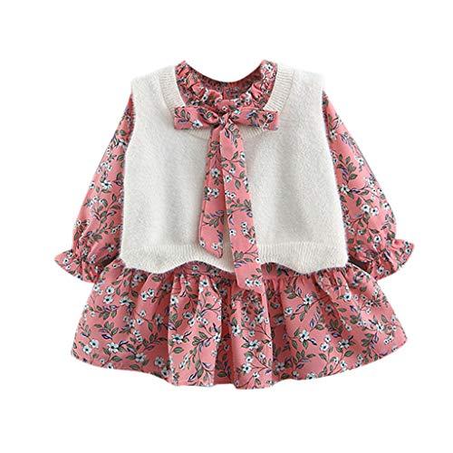 Zegeey Kleinkind MäDchen Baby Langarm Kleid Und ÄRmellos Top Bekleidungssets Festliche Geburtstag Geschenk Casual Outfit Partykleid Prinzessin Kleid(Rosa,60-70)