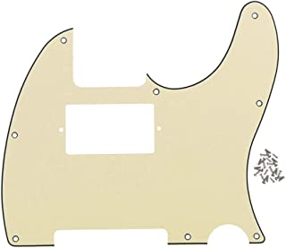 FLEOR 3Ply Cream 8 Hole Tele Pickguard Guitar Humbucker Pick Guard HH with Screws Fit USA/Mexican Fender Standard Telecaster Part