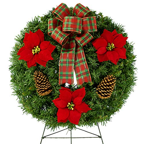 Sympathy Silks Christmas Memorial-Wreath Decoration - Red Poinsettia and Pinecones with Hand-Tied PlaidBow on 30 Inch Easel - Artificial Greenery Wreath - Fade Resistant