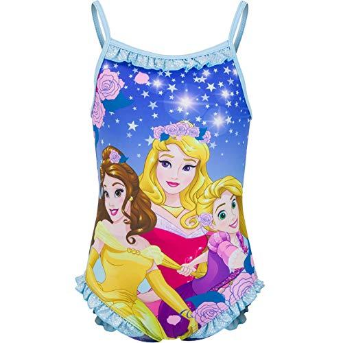 Disney Pincess - Costume intero da bagno per bambine, con mulini argentati, 2-6 anni, Blu, 3-4 Anni