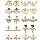 10 Pairs Ear Jacket Lotus Flower Earrings for Women and Girls trendy peekaboo unique hollo...