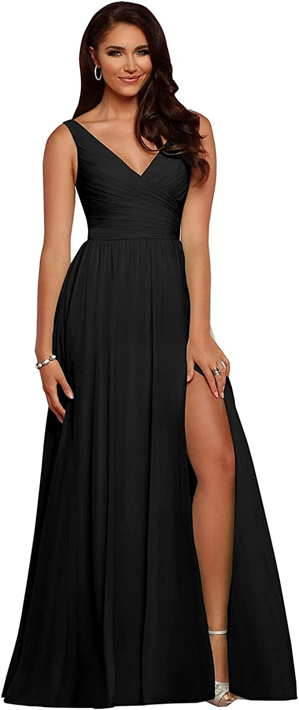 kosoze V-Neck Chiffon Pleated Slit Bridermaid Dresses for Women Long Formal Party Growns