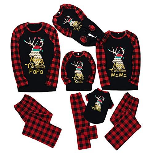 Yissone Noël Famille Correspondant Vêtements Ensemble Tenues Vêtements de Nuit Vêtements de Nuit Or Renne Pyjama à Carreaux Homewear pour Animal de Compagnie Bébé Enfant Maman Papa