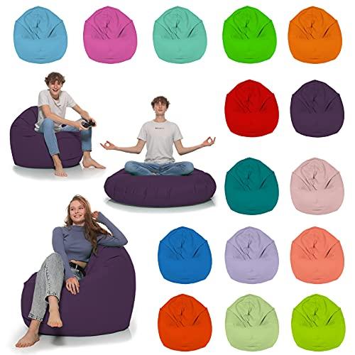 HomeIdeal - Sitzsack 2-in-1 Funktionen Bodenkissen für Erwachsene & Kinder - Gaming oder Entspannen - Indoor & Outdoor da er Wasserfest ist - mit EPS Perlen, Farbe:Lila, Größe:110 cm Durchmesser