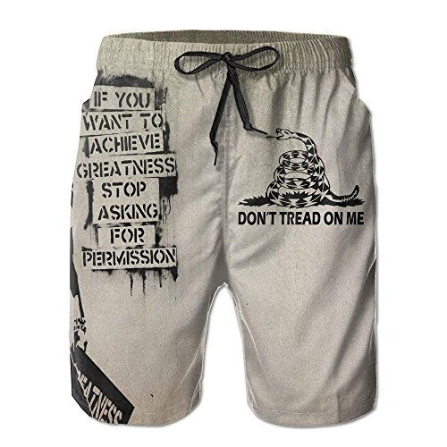 XIAOYI Dont Tread On Me Snake Pattern Loose Summer Surfing Trunks Surf Board Shorts Beach Shorts with Pockets for Men - L