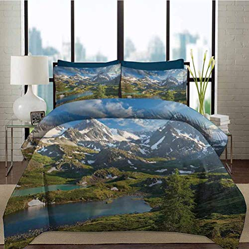 Duvet Cover Set Landscape Duvet Cover Set with Zipper Closure Mountain Lake Russia Siberia Altai Mountains Katun Ridge Snowy Peaks Decorative 3 Piece Bedding Set with 2 Pillow Shams, Full Size