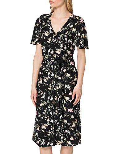 VERO MODA Damen VMSIMPLY Easy SS Calf Shirt Dress WVN GA Kleid, Black/AOP:OLINE, M