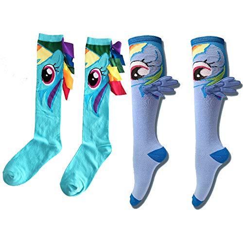 JasmyGirls Pony Anime Socken Rainbow Dash Crew Socken Süße kniehohe Socken Lustige Charaktersocken Kawaii Comics Socken mit Flügeln
