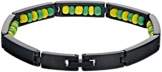In Season Jewelry Black Stainless Steel Ilde de Orula Bracelet Santeria Green Yellow Babalawo