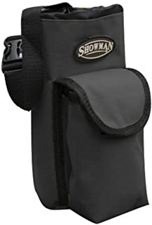 Showman BLACK Nylon Insulated Cordura Trail Riding Water Bottle Cell Phone Carrier Bag with Pocket and Adjustable Carrier Strap