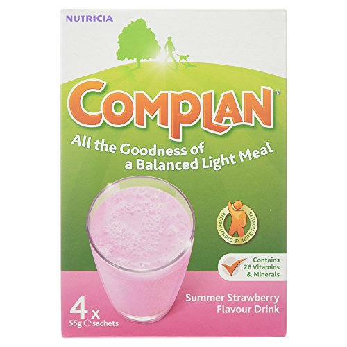 Complan Summer Strawberry Flavour Drink, 4 x 55g