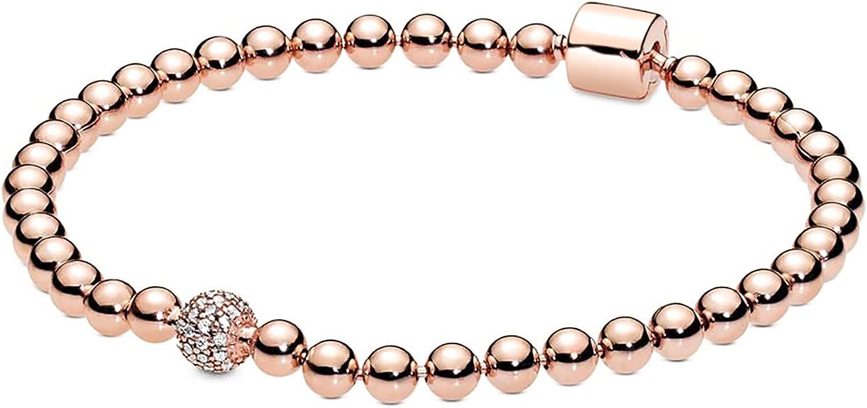 EZ Tuxedo Beaded Bracelets 925 Sterling Silver Bangle with Pavé Cubic Zirconia Classy Jewellry for Her Birthday