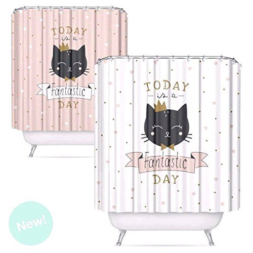 D,casa - Cortina baño peva Cats 180 x200 cm - Blanco