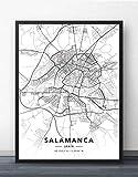 Cuadro Sobre Lienzo,España Salamanca Ciudad Mapa Pared Imágenes Carteles Blanco Negro Impresiones Arte Pinturas De Arte Murales Pop Obras De Arte Para La Habitación De La Vida Casa Decoración,30X