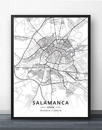 ZWXDMY Impresión De Lienzo,España Salamanca Mapa De La Ciudad Moderno Negro Blanco Pintura Simple Arte Minimalista Mural Cartel Sala De Estar Vertical Café Decoración, 20 × 30 Cm