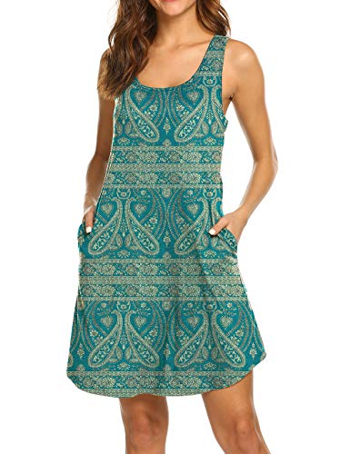 LuckyMore Womens Dresses with Pockets Casual Summer Sleeveless Beach Sundresses Vacation Clothes Peacock Blue M