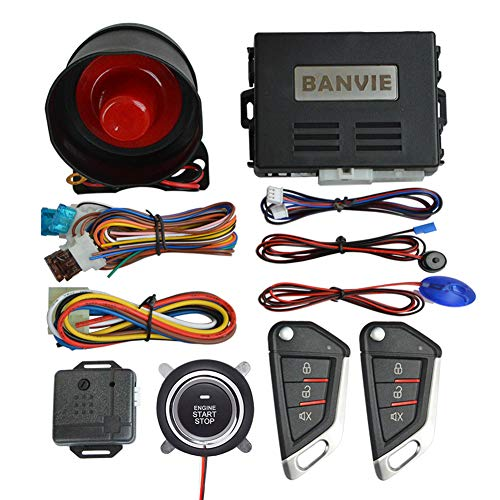 BANVIE Car Alarm System with Remote Engine Start and Push to Start Stop Iginition Button Kit