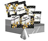 Kit n.16 Coordinato Buon Compleanno Prestige piatti quadrati grafica palloncini oro e argento con sfondo nero per feste di tendenza