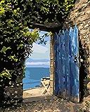 Pintar por número Pequeña puerta junto al mar Cuadros de decoración del hogar color por número pintura al óleo sobre lienzo (16X20 pulgadas /40X50Cm/sin marco)