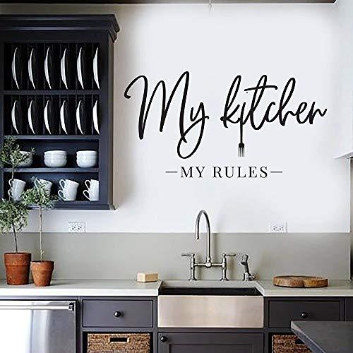 Calcomanía de pared Mi cocina Mis reglas Cita Palabras para la cocina Pegatinas de pared Accesorios de decoración del hogar para restaurante A2 30x57cm
