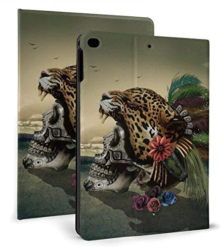 Art Toucan Cockatoo Parrot Flamingo PU Leather Smart Case Auto Sleep/Wake Feature for iPad Air 1/2 9.7' Case-Leopard Skull Art-iPad air1/2 9.7'