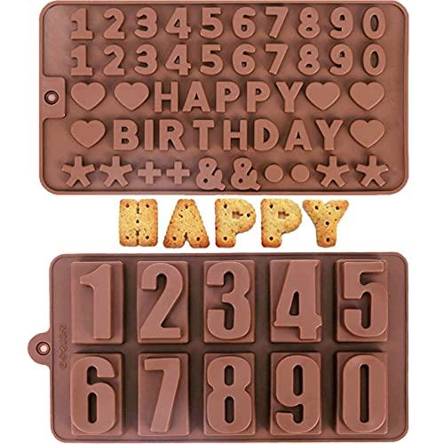 WiDream 2 pcs Stampo Silicone con Numeri, Lettere e Numeri in Stampo di Cioccolato in Silicone, Lettere e Numeri di Caramelle Stampo in Silicone, per Torte, Cioccolato, Biscotti