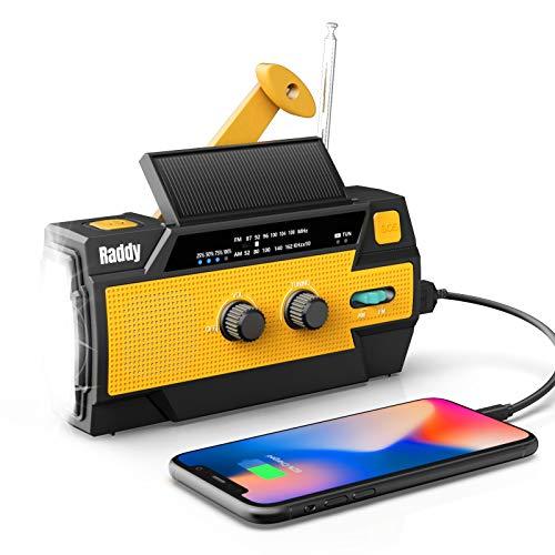Raddy SW3 Kurbelradio Tragbares Solar Radio Notfall AM FM Dynoma Radio mit USB Handyladefunktion LED Taschenlampe und 4000mAh wiederaufladbares Batterie für Outdoor Camping, 2020 Neueste Verion (Gelb)