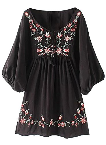FUTURINO Damen Sommerkleid Bohemian Stickerei Floral Tunika Shift Bluse Flowy Minikleid,03 Schwarz,XL
