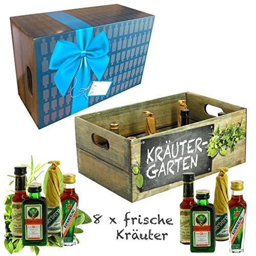 Creofant Kräutergarten · Witzige Geschenkidee für Männer und Frauen mit Alkohol · 8 x Kräuter-Likör · Hochwertige Geschenkbox - Geburtstagsgeschenk für Männer