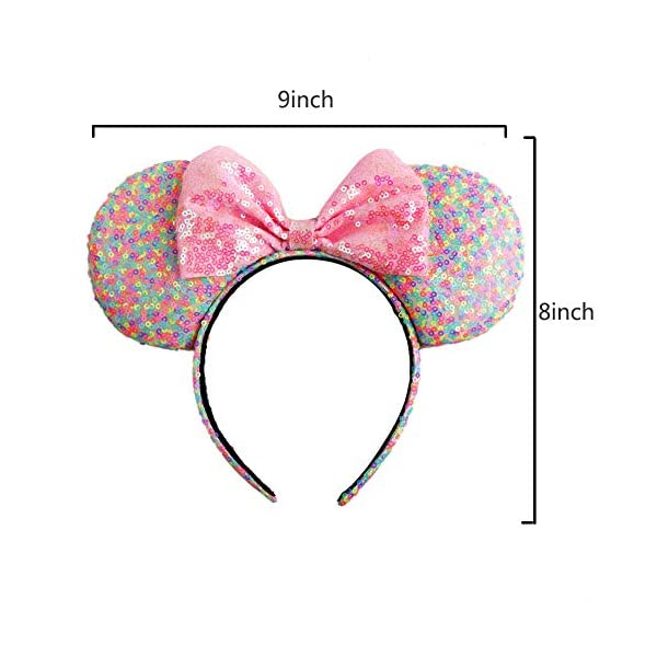 Konger Lovely Colorful Mouse Ears with Pink Big Bow Headband Hoop Hair Accessories for Girls Birthday Party Travel Festivals …, Rainbow Color, 8inch