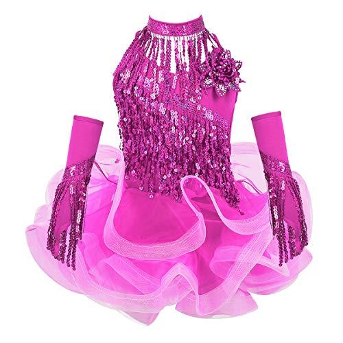 IEFIEL Vestido Danza Latina Niña Vestido Lentejuela Borla con Tutu Traje de Baile Salsa Salón Tango con Accesorios Dancewear Rosa 3-4 Años