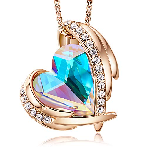 CDE 18K Rose Gold Necklaces for Women Christmas Jewellery Gifts for Her Love Heart Pendant Necklace Birthday Anniversary Gifts for Wife Mum Girlfriend(Rose Gold Mulitcolor)