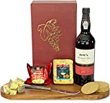 Dow's Midnight Port and Stilton Truckle and Oatcake Classic Hamper all presented in a Bordeaux Gift Box with Name-a-Rose Gift