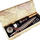 GC - LL-66 - Juego de caligrafía: una pluma, tinta, 5 puntas, soporte para bolígrafos, sello y cera y todo en una caja de regalo