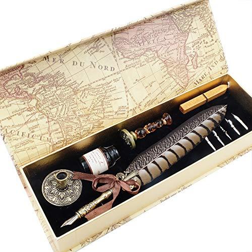 GC Kalligraphie-Stift-Set, luxuriöser Federhalter und Tinte, Set mit 5 Federn, Stifthalter, Siegelstempel und Wachs, in Geschenkbox LL-66
