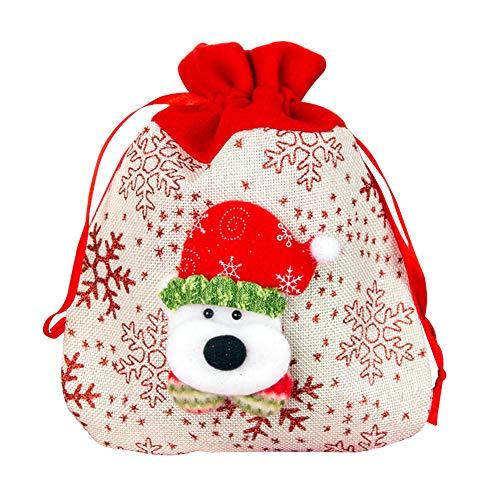 Topdo Bolsa de Regalo Navidad con Cajas de Cuerda Atado Portátil Oso Gift Bag Decoración Colgante para Navidad Fiesta de Boda Bolsas de Regalo 1 Pieza 20 * 25cm