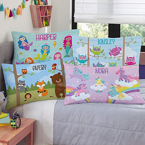 Lets Make Memories Personalized Pillowcase - Customized for Kids - Soft Fabric - Plush Fleece - Standard Pillow Size - Owls Design - Personalized with Her Name - Sleep, Nap Girls Pillowcase