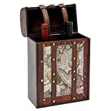 Juvale 2 Bottle Wine Holder, Wooden Map Box (8.7 x 13.8 x 4.7 Inches)