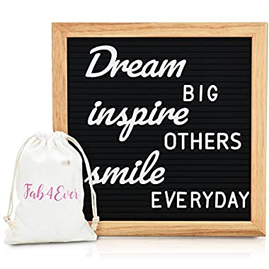 Letter Board with Letters & Cursive Words - Message Board Includes 520 Letters, Words & Oak Frame – Black Felt Board with Letters Has Giftbox Packaging, Wall Mount & Canvas Bag