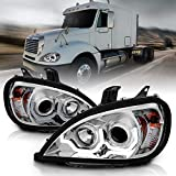 AmeriLite Chrome Projector Replacement Headlights Dual LED Bar Set for Freightliner Columbia (Pair) High/Low Beam Bulb Included