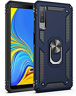 Samsung A7 2018 Case, Extreme Protection Military Armor Dual Layer Protective Cover with 360 Degree Unbreakable Swivel Ring Kickstand for Galaxy A7 2018 Blue