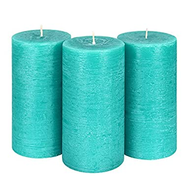 Candle Atelier Turquoise Sea 3  x 6  Handmade Pillar Candles, Fragrance-free, Set of 3