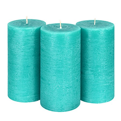 """Candle Atelier Turquoise Sea 3"""" x 6"""" Handmade Pillar Candles, Fragrance-free, Set of 3"""