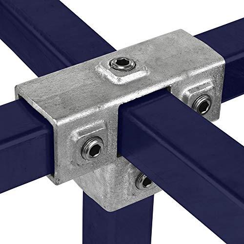 Klemp - Quadratische Rohrverbinder 40x40 mm Vierkantrohre Temperguss T-stück Mit Stützrohr - Typ 24S-40