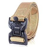 Winchester Tactical Belt, Military Utility Nylon Web Heavy Duty Work Belt, Quick Release Magnetic Buckle, Foxtrot Khaki, M