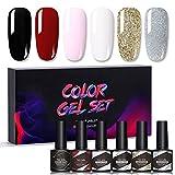 Wsrcxx Kit de esmalte de uñas semipermanente, 6 piezas de 8,5 ml UV/LED Gel Polish DIY Nail Art Manicura, Kit de manicura integrado para el salón de uñas en el hogar